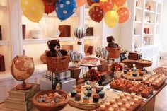 Hot Air Balloon Party Decorations | Vintage Hot Air Balloon 1st Birthday Party Planning Decorations Ideas