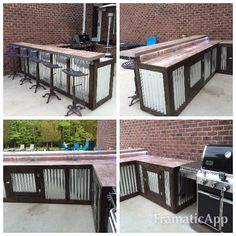 rustic and practical. Two sections built on wheels. - Outdoor pool bar…rustic and practical. Two sections built on wheels. Lots of storage underneath. Outdoor Kitchen Countertops, Outdoor Kitchen Bars, Outdoor Kitchen Design, Rustic Outdoor Bar, Rustic Bars, Rustic Outdoor Kitchens, Outdoor Bars, Concrete Countertops, Backyard Bar