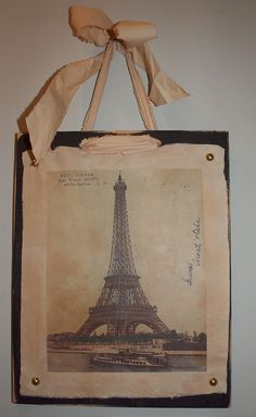 EIFFEL TOWER - Shabby Chic Plaque - Vintage 1906 French Postcard - Wall Decor - French Ribbon Accent - Shabby Chic Decor. $25.95, via Etsy.