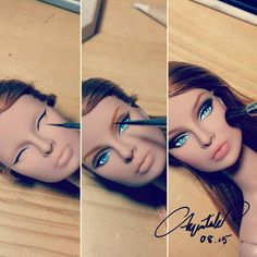 """""""This is how the beauty is born"""" Eugenia is our favorite face. Repainted by… Eugenia Perrin Frost Doll Face Paint, Doll Painting, Custom Barbie, Custom Dolls, Fashion Royalty Dolls, Fashion Dolls, Barbie Girl Doll, Vintage Barbie, Porcelain Doll Makeup"""