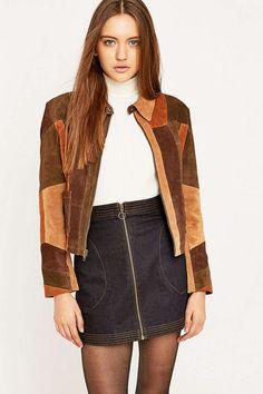 Urban Renewal Vintage Remnants – Patchwork-Jacke aus Wildleder - Urban Outfitters