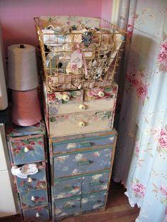 Vintage walpaper drawers in Gail's studio