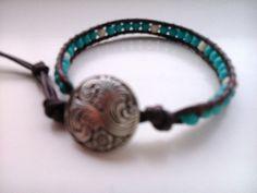 Handcrafted Leather & Gemstone Single Wrap Bracelet  - Turquoise/Howlite
