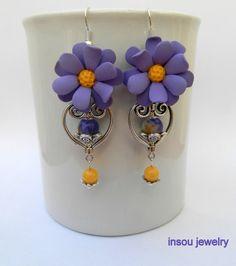 Anemone earrings   Flower jewelry  Lilac earrings  by insoujewelry