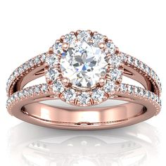 Rose Gold Engagement Ring Setting - Split Shank Halo Style. I LOVE this ring!! I have such a soft spot for rose gold...