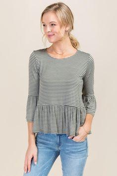 Knit Annabella Stripe Peplum Top