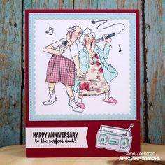 Art Impressions Perfect Duet Set from Work and Play. Handmade Anniversary card.