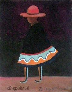 figura andina, acrylic on canvas, 15 x 19 cm. , 2013.. Pintura en venta de la…
