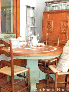 Our Prairie Home: Oak Pedestal Table {A Before & After}(painted with Miss Mustard Seed's Milk Paint)