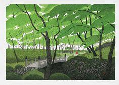 Fresh Green Garden, Kazuyuki Ohtsu Japanese Woodblock Prints