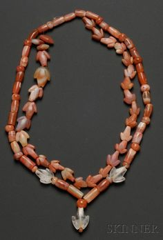 Colombia   2 Necklace; rock crystal and carnelian beads   Pre-Columbian; ca. 1000 - 1500 AD   711$ ~ sold