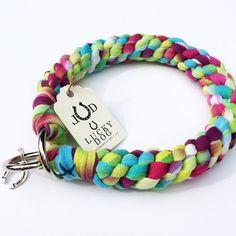 "Tye Dyed Braided Handmade Cotton Dog Collar 16""  (M)"