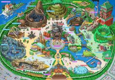 Plans for the theme park to end all theme parks have been unveiled - artist Takumi has unveiled his vision for a Hayao Miyazaki wonderland.Called Ghibli Land, the theme park recreates some of Miyazaki. Hayao Miyazaki, Disneyland, Theme Park Map, Parc A Theme, Attraction, Creators Project, Aichi, Howls Moving Castle, My Neighbor Totoro