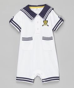 dc162cf43e0b Love this White  amp  Navy  Captain  Romper - Infant by Baby Essentials on