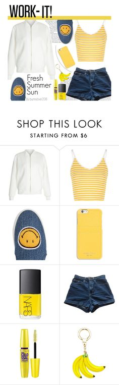 """""""Summer Daze"""" by bunnylover208 ❤ liked on Polyvore featuring New Look, Glamorous, Joshua's, MICHAEL Michael Kors, NARS Cosmetics, American Apparel, Maybelline, Kate Spade, jeanshorts and denimshorts"""