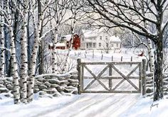 A larger image of Gateway Farm, a print of an original watercolor by Kathy Glasnap of Door County, Wisconsin