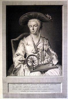Spinnrad - Porträt einer Dame, grossformatiger Original-Kupferstich um 1750! in Antiquitäten & Kunst, Grafik, Drucke, Originaldrucke vor 1800 | eBay!