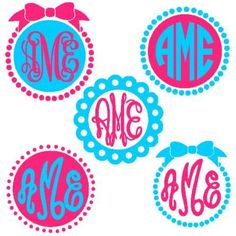 Circle Monogram Frames instant download cut file for Silhouette machine cutting (monogram fonts sold separately):