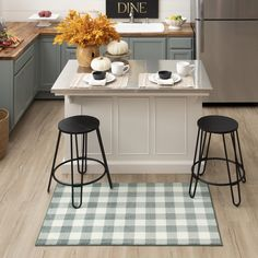 Chic and classic, the Grey Buffalo Check Mat adds timeless plaid style in a neutral autumn inspired color palette that's perfect for the fall season and beyond. #fall #falldecor #doormat #pumpkinspice #kitchendecor #coffee #lowes #homedecor #pumpkins #autumn #homedecor #arearugs #mohawkhome #mohawk #plaid Fall Home Decor, Home, Kitchen Remodel, Kitchen Decor, House Styles, Kitchen Accents, Kitchen, Mohawk Home, Kitchen Mat