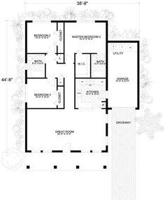 Plano de casa con 3 habitaciones y garage grande - Planos de Casas Gratis