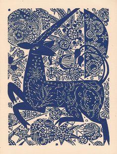 'Unicorn' by Jozef Domjan (woodcut)