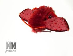 Big Red Moth-brooch, made with fake fur, alcantra and glass beads.