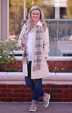 Perfectly preppy for everyday.  Burberry scarf, trench coat and boat shoes on Peaches In A Pod blog.