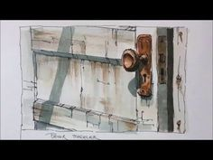 Line and wash demonstration of an Old Door watercolor painting. Easy to ...