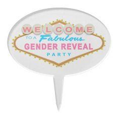Las Vegas Sign Gender Reveal Party Cake Topper