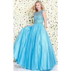 Shail K 4041 Prom Dress 2017 Long High Neckline Short Sleeve ($440) ❤ liked on Polyvore featuring dresses, gowns, formal dresses, turquoise, prom dresses, formal gowns, prom gowns and long formal gowns