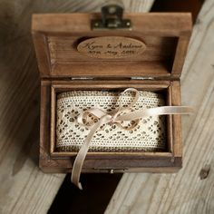 Personalized wedding ring box. Rustic wooden par collectivemade