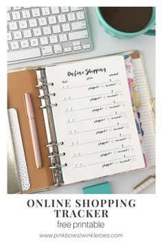 Free printable planner insert - online shopping tracker + log - instant download printable insert ideal for A5 planner, mini binders, and mini happy planners - free productivity printables for all types of planners