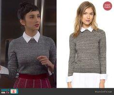 Mandy's grey collared sweater on Last Man Standing. Outfit Details: http://wornontv.net/40519/ #LastManStanding
