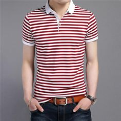 MENS CASUAL SHORT SLEEVE THIN STRIPED COTTON POLO