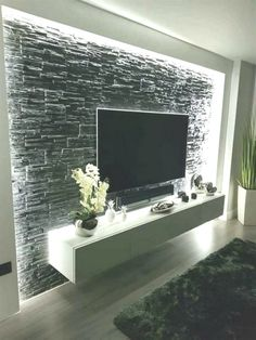 Modern and graceful TV wall design. Living room TV ceilings Beautiful & & interior decorating The post Modern and graceful TV wall design. Living room TV blankets beautiful appeared first on Trendy. Deco Tv, Home Interior Design, Interior Decorating, Design Interiors, Tv Console Decorating, Decorating Ideas, Interior Walls, Tv Wall Cabinets, Wall Cabinets Living Room