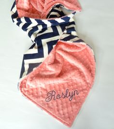 This listing is for Navy and Ivory Chevron stroller blanket. You choose the back minky color and size. Made to order please refer to the