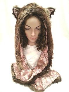 New Lovely Plush Animal Snood Hood Grizzly Brown Bear Light Pink Lining Faux Fur Hat with Scarf, Mittens Pocket