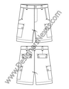 007- mens apparel flat fashion sketch cargo shorts - FREE download and more flats in Illustrator & .png at designersnexus.com!