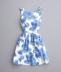 Cut Out Shoulder Pleated Dress  Blue floral dresses Graduation ...