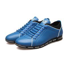 Sapatenis Social Masculino em Couro Azul Calçados Elegante Sapato Casual - Calitta