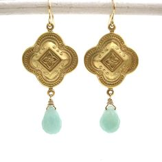 Brass Clover and Amazonite Earrings 14K Gold by ZhivanaDesigns, $35.00