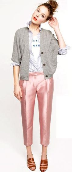 metallic pink pants, striped shirt, grey cardigan and tee #jcrew
