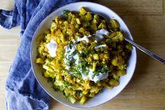 Indian Spiced Cauliflower and Potatoes ~ Aloo Gobi with Cucumber Scallion Raita Veggie Recipes, Indian Food Recipes, Vegetarian Recipes, Cooking Recipes, Ethnic Recipes, Veggie Meals, Vegetarian Dinners, Ww Recipes, What's Cooking