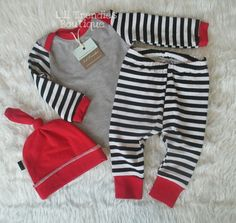 Black and white stripes with red trim coming home outfit boy or girl outfit red knot beanie hat by liltrendiesboutique