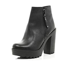 Black cleated sole block heel ankle boots £70.00 River Island