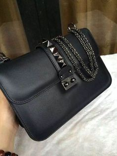 valentino glam lock bag in black leather with gunmetal hardware Women's Handbags Wallets - http://amzn.to/2huZdIM
