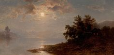 """""""Moonlit Lake, White Mountains,"""" Hermann Fuechsel, 1894, oil on canvas, 10 x 20"""", private collection."""