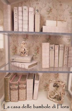 French cabinet with books and accessories  1/12 by FloraDollhouse, $138.00