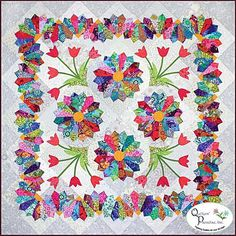 Dresden Flower Patch: Create this stunning quilt using piecing and applique! Dresden plates, tulips, and a unique border are featured in the 64 x 64 design. Pattern includes all instructions. Patch Quilt, Tie Quilt, Applique Quilts, Dresden Quilt, Dresden Plate Patterns, Quilt Patterns, Quilting Projects, Quilting Designs, Quilt Modernen
