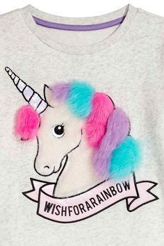 Sweatshirt with a motif - Light grey marl/Unicorn - Kids | H&M GB